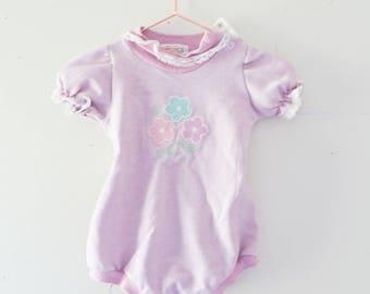 Vintage Baby Onesie Vintage Purple Embroidered Floral Flowers Purple Ruffle Onesie Size 6 Months Healthtex