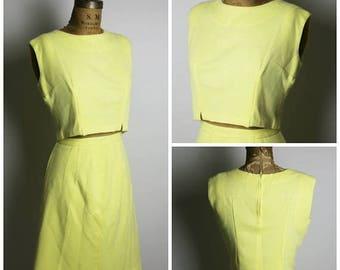 ON SALE 1950s Yellow Wool Set