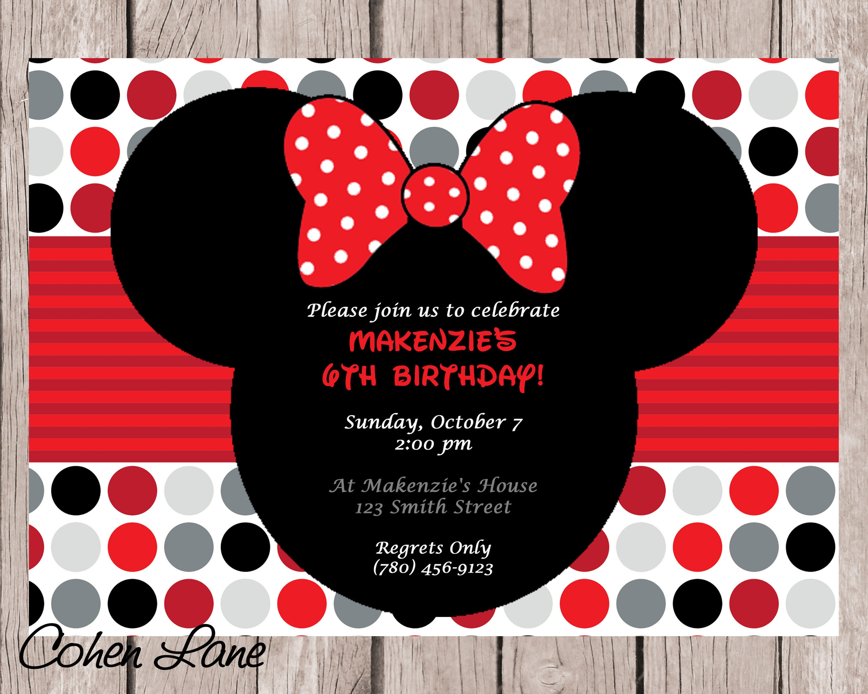 DIY Printable Minnie Mouse Birthday Party Invitation. Red