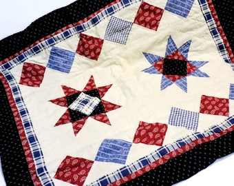Patriotic Patchwork Star Pillow Sham Cover, Vintage Americana Decorative Red White Blue Bedroom Home Decor, Standard Size itsyourcountry