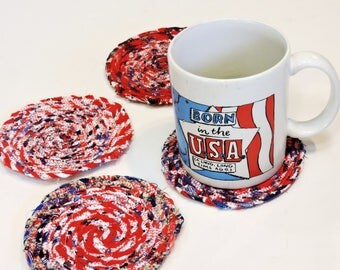 Rag Rope Coasters, Red White Blue Cotton Coiled Mug Rugs, Textile Fiber Art Furniture Protectors, Set of 4, Housewarming Gift itsyourcountry