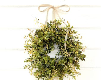 MINI Window Wreath-Eucalyptus Wreath-Farmhouse Decor-Country Cottage Wreath-Artifical Eucalyptus Wreath-Wall Decor-Small Wreath-Gifts