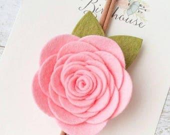 Ballerina Pink Felt Flower Headband. Felt Baby Headband. Cake Smash Headband. Pink Flower Crown. First Birthday Crown. Pink Felt Headband