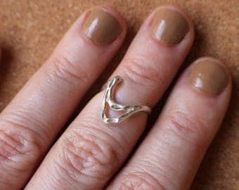 vintage wave ring simple sterling ring minimalist jewelry size 3 34 - Size 4 Wedding Rings
