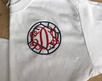 Monogram Volleyball Tee - trendy personalized sports shirt - Volleyball mom, team spirit, travel team - gifts under 25 - kids, youth, adult