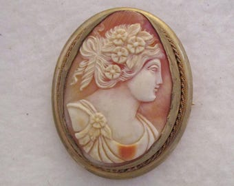 Detailed Carved Shell Cameo Brooch Pendant Gold Tone Setting