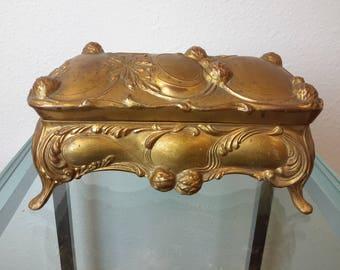 Large Art Nouveau Jewelry Casket Box Gold Gilt / Ormolu Cast Metal Chrysanthemum Flower / Floral Footed
