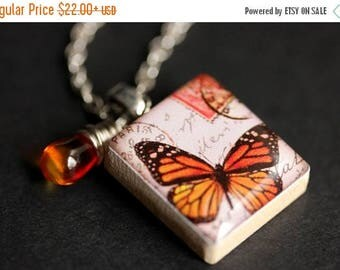 BACK to SCHOOL SALE Orange Butterfly Necklace. Monarch Butterfly Charm Necklace. Scrabble Tile Necklace with Fire Orange Teardrop. Handmade