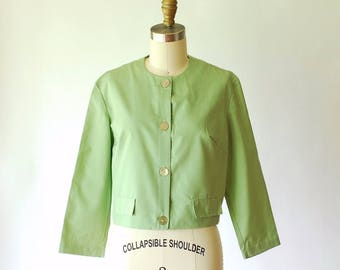 vintage 1960s blouse / 60s sage green cotton top / size small