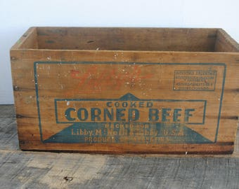 Vintage Libby's Cooked Corned Beef Wood Box Crate