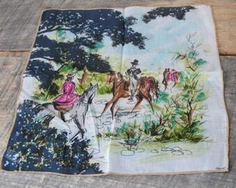 Vintage Depose Skandia Print 1963 Handkerchief Horse Riding Country Side