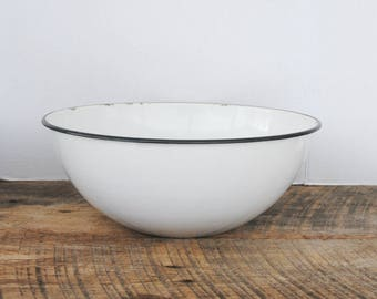 Vintage Enamelware Mixing Bowl White With Black Rim