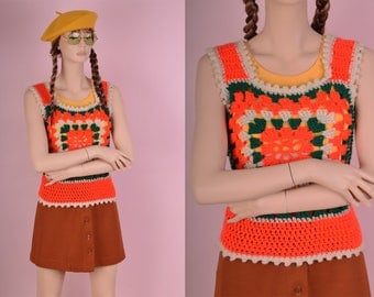 70s Crochet Tank Top/ Small/ 1970s/ Knit