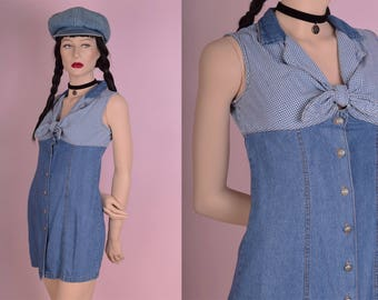 90s Gingham Denim Button Down Dress/ Small/ 1990s