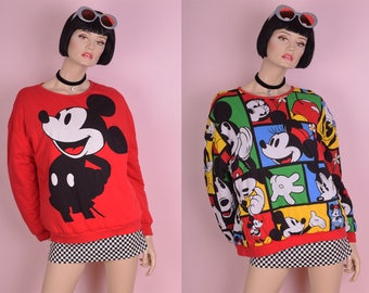 80s Mickey and Minnie Mouse Reversible Puffy Sweatshirt/ One Size/ 1980s