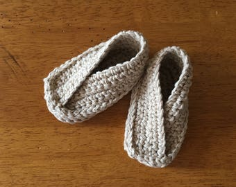 Crocheted Baby Fortune Cookie Booties