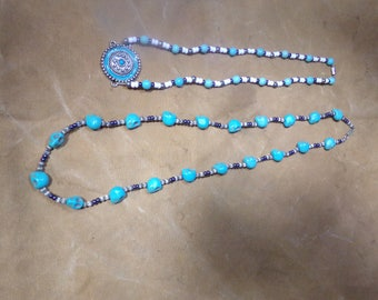 2 Hand made stone necklace turquoise skull glass beads jewelry