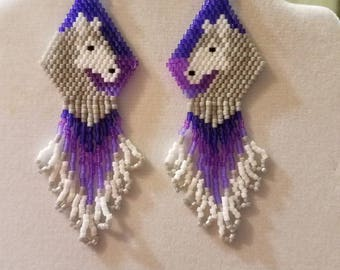 Native American Style Beaded Purple Sunset Horse White and Grey Earrings Southwestern, Boho, Hippie Great Gift for Horse Lovers