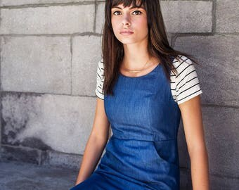 Jumper Dress with buttons at the shoulder. Tencel or Linen.