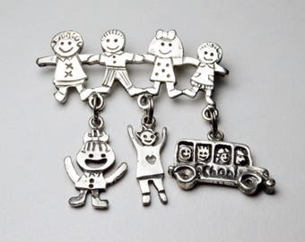 SALE Vintage Sterling Silver EFS Save the Children Signed Teacher Style Pin