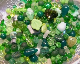 Czech Glass Beads Mix of Assorted Green 200 pcs 1/4 lb