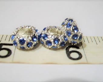NEW Shade of Blue, New Lower Price, Quantity 5,  Blue, Crystal , Cheerio, European Charm Bracelet, Beads - Silver Plated Euro, Medium Blue