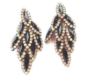 Art Deco Chandelier Earrings Rhinestone Black & Clear Layered Retro Retro Fashion Jewelry