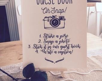 Rustic/ Vintage Polaroid Sign - Wedding Guest Book