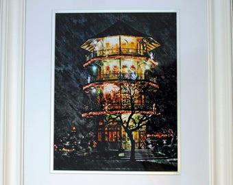 "Patterson Park Pagoda, Original Wall Art, Limited Edition 20"" x 24"" White Framed Handmade Giclee Print"