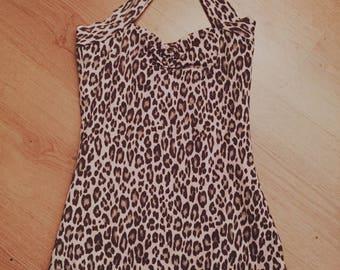 Vintage-style leopard print Bathingsuit Swimsuit