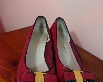 Summer Sale 8.5 B Vintage Ferragamo Red Vara Bow Ballerina Shoes