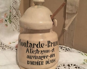 French Vintage Stoneware Mustard Pot