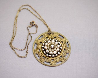 Vintage Brass Rhinestone Necklace 17 Inch Necklace Large Focal Pendant