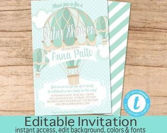 Hot Air Balloon baby shower invitation, Balloon Invitation, Aqua Blue Vintage Hot Air Balloon Invitation, Templett EDITABLE Instant Download