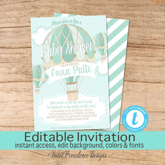 Hot Air Balloon baby shower invitation Balloon Invitation