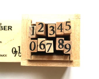 number rubber stamp set with wooden box. japanese rubber stamps. planner stamps. diy scrapbooking. card making. size S. set of 10 numbers