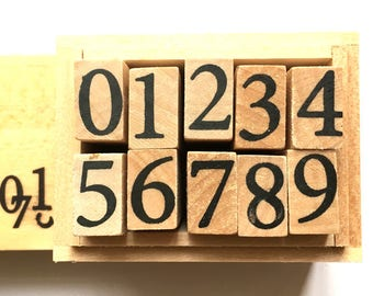 number rubber stamp set with wooden box. japanese rubber stamps. planner stamps. diy scrapbooking. card making. size L. set of 10 numbers