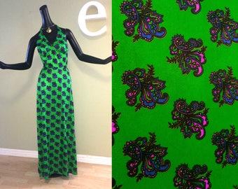 Mardi Gras Groovy Green & Purple Paisley Vintage Halter Dress St Patricks Day Swimwear Bra Dress 1960s 1970s 70s Hippie Boho Rose Marie Reid