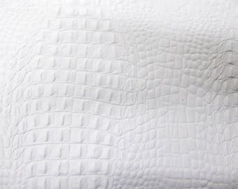 """Leather 2 piece 3""""x11""""  ALLIGATOR / Crocodile MATTE White embossed Cowhide #153 2.5-2.75oz/1-1.1 mm PeggySueAlso™ E2860-04"""