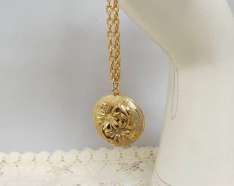 Vintage Floral Locket Gold Tone Round