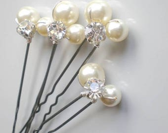 ON SALE Bridal IVORY Pearl Rhinestone Hair Pins. Elegant Wedding Large Pearl Hair Pins. Swarovski Pearls. Bridal Hair Jewelry. Chic  Prom. B
