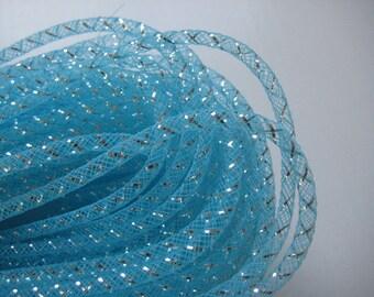 4 mm Blue Mesh Tubing, Nylon Mesh Tubing, Mesh Wreathes for Baby Shower, Crafting, Embellishment, 50 yards