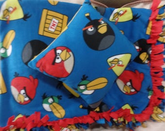 "Angry Bird Fleece Quilt Blanket Throw 64"" x 50"" & Pillow 15"" x 15"""