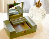 "Vintage Jewelry Box with Ring Tray, Blue Green Gold Trim with Velvet and Satin Interior 11"" x 8"""