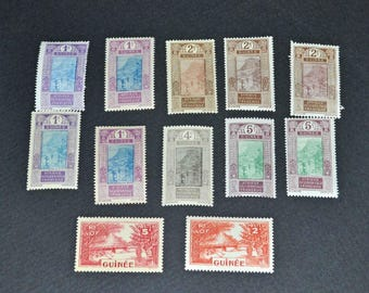 French Guinea 12 mint stamps
