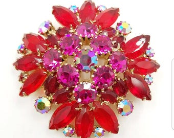 Vintage Red and Pink Rhinestone Brooch with Multi Prong Set Rhinestones, 1950's Rhinestone Brooch, Open Back Setting, Red Pin, Fuschia Pin