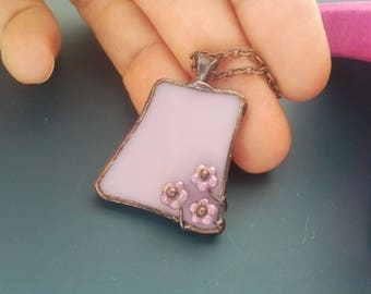 Stained glass jewelry, gift for women, powder pink, unusual jewelry, tiny flower beads, artistic jewelry