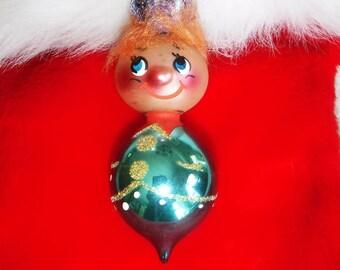 De Carlini Italy Figural Glass Christmas Ornament 1950-60s