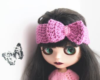 Orchid bow headband. Blythe clothes. Bow crochet for newborn prop. Blythe pink bow. ooak Blythe accessories. Blythe crochet headband