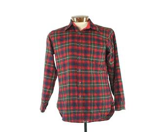 70s PENDLETON Wool Shirt Red Plaid Long Sleeve Button Up Vintage 1970s Medium M Mens Christmas Holiday Lumberjacket Flannel